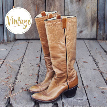 Vintage Taupe Stitch Boots