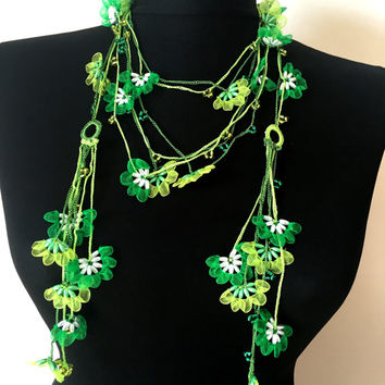 Green Crochet Lariat Necklace, Beaded Organza Lace Necklace, Turkish Traditional Oya Scarf, Crochet Handmade Lace, Gift For Her