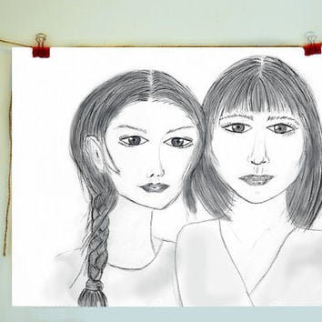 Two Women Art Print from a Pencil Sketch by Sian Whitehall, love, sisters, friends, siblings, family