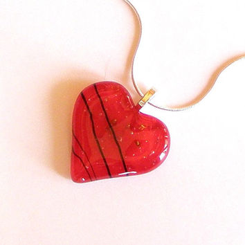 Red Fused Glass Heart Pendant Necklace by GreenhouseGlassworks