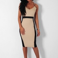 Biscotti Nude & Black Panel Midi Dress | Pink Boutique
