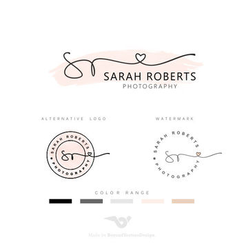 Premade Branding Kit - Photography Logo Set- Watermark - Handwritten initials -  Initials Signature - Watercolor Logo -Heart Lovely logo