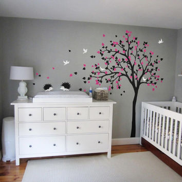 Morden Style Baby Kids Room Art Decorative Vinyl Nursery Tree Wall Sticker Falling Blossoms Cute Hedgehods Birds Tree Decal T-9