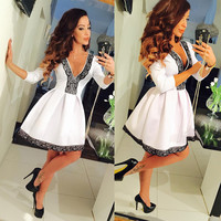 Floral V-neck 3/4 Sleeve Lace Splicing Skater Short Pleated Dress
