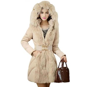 YJSFG HOUSE Fashion Women Winter Warm Down Jacket Parka 2017 Ladies Slim Fur Collar Hooded Long Coat Belt Jackets Manteau Femme