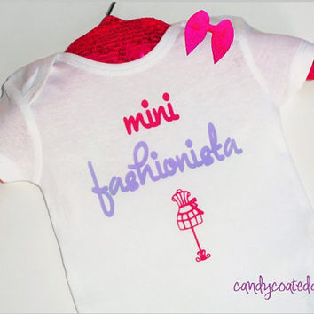 Mini Fashionista Onesuit t-shirt or tank top girls infant newborn couture girly lady cute shirt clothes boutique pink purple