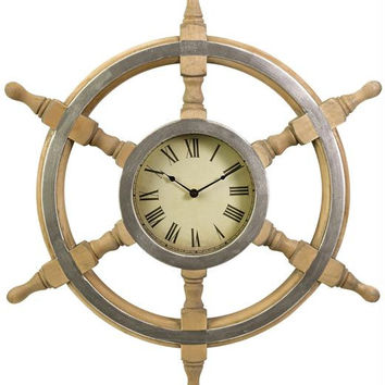 Decorative Wall Clock - Rustic Boat Wheel