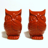 Two Vintage Red Ceramic Owl Statues - decor, bookends, display