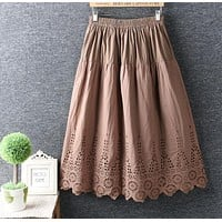 hollow out embroidery elastic waist A-Line vintage skirt mori girl