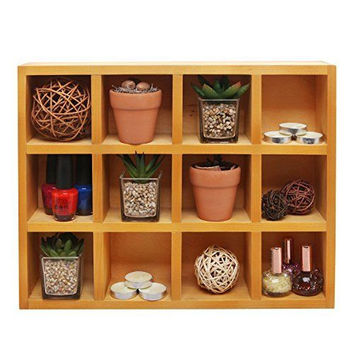 Wooden Freestanding Wall Mounted 12 Compartment Cubby  Shadow Box Display Shelf