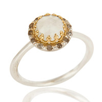 18K Yellow Gold And Sterling Silver Natural Diamond & Moonstone Stack Ring