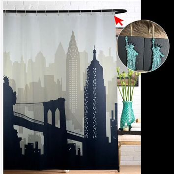 New York City Scape Fabric Shower Curtain Waterproof Bath Curtain With Statue of Liberty Hooks Bathroom Products