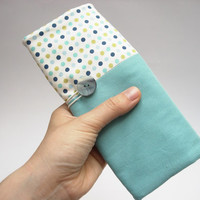 Handmade pencil roll holder for kids with turquoise cotton and with green and blue polka dots. Back to school. Ready to ship
