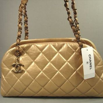 "Chanel Dark Gold Quilted Leather ""CC"" Handbag Purse Shoulder Bowling Bag NEW"