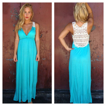 Aqua Crochet Back Maxi Dress