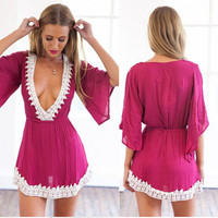 Flare Sleeve Lace Trim Elastic Waist Mini Dress