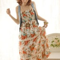 Sexy Women's Straps BOHO Shivering Long Chiffon Dress 2 COLORS Free Shipping!  - US$13.99
