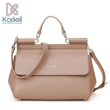 Kadell Vintage High Quality Women Messenger Bags Handbag Doctor Bag Fashion Brand Shoulder Women Leather Handbags Ladies Tote