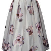 White Pleated Floral Print Midi Skirt