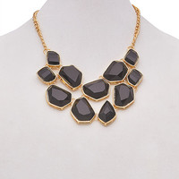 Abstract Faceted Stone Necklace   Wet Seal