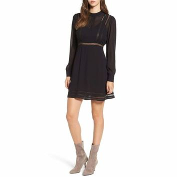 ASTR the Label Kirsten Lace-Trim Fit & Flare Dress ACDR94637 Black XS