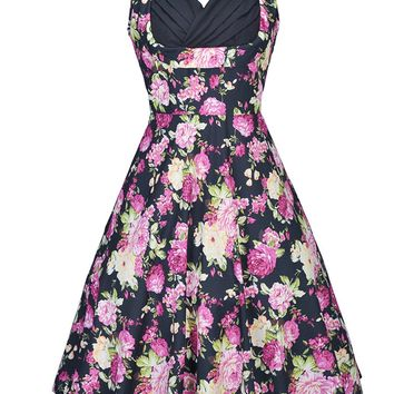 Streetstyle  Casual Pleated Bodice Sweet Heart Floral Printed Skater Dress