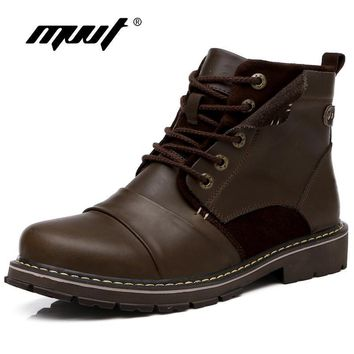 MVVT Genuine Leather Boots Men Winter Snow Boots Super Quality Western Cowboy Boots We