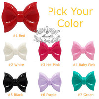 7 PCS X (58mm X 45mm) Big Large Bow Ribbon Cabochon Acrylic Resin Flat Back (Pick Your Color) -Diy Bling iPhone Deco Case Supplies (BW14)