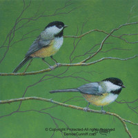 Bird art chickadees. Green, yellow and gray decor, nursery decor, laundry room decor, bathroom art. Original painting canvas artwork 12x12""