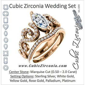 CZ Wedding Set, featuring The Carla engagement ring (Customizable Marquise Cut Split-Band Curves)