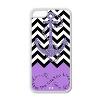 iPhone 5C Case - Purple Infinity Chevron with Anchor Live the Life You Love, Love the Life You Live Apple iPhone 5C (Cheap IPhone5) TPU Designer Hard Case Cover Protector