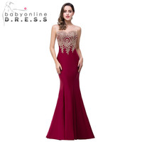2016 Hot Sale Sexy Sheer 12 Colors Appliques Burgundy Bridesmaid Dresses Embroidery Long Dresses for Weddings Party Guest Gowns
