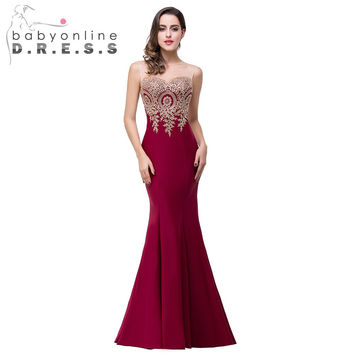 2017 Hot Sale Sexy Sheer 12 Colors Appliques Burgundy Bridesmaid Dresses Embroidery Long Dresses for Weddings Party Guest Gowns