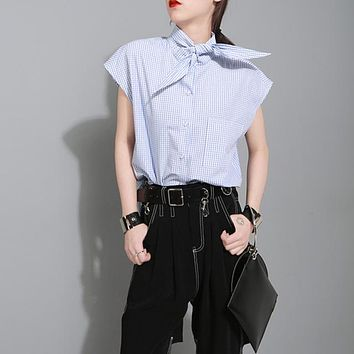 Sleeveless Plaid Shirt For Women