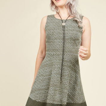 Parallel Texture A-Line Dress | Mod Retro Vintage Dresses | ModCloth.com