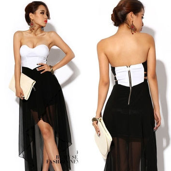 Fashion Womens Lady Sexy Off Shoulder Backless Party Patchwork Wrapped Chest Strapless White Black Tube Dress  0177 = 1651540484