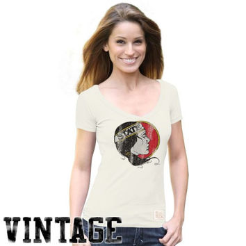 Original Retro Brand Florida State Seminoles :FSU: Ladies Cream Pocahontas Vintage Premium V-neck T-shirt