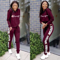 Womens Stylish CHAMPION Two Pieces TOP Pants Sportswears