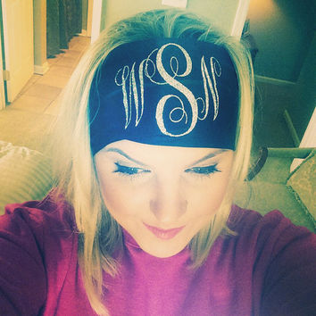 Monogram Headband! Glitter or solid initial monogrammed headband.  Perfect for sorority, gifts, graduation or cheer!