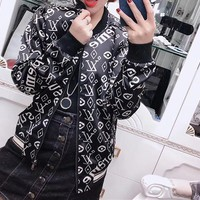 """ Louis Vuitton"" Fashion Unisex Letter Logo Baseball Clothes Couple Long Sleeve Zip Cardigan Leather Jacket Coat"
