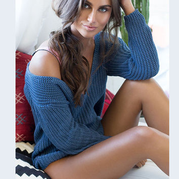 Ribbed Knit Deep V-neck Asymmetric Dropped Shoulder Solid Pullover Sweater