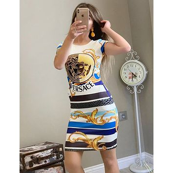 VERSACE Newest Trending Women Stylish Print Short Sleeve Slim Dress