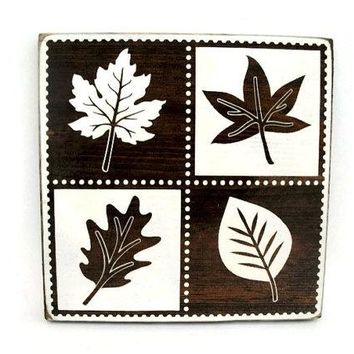 Fall Autumn Leaf Rustic Wood Sign Wall Hanging Home Decor (#1208)