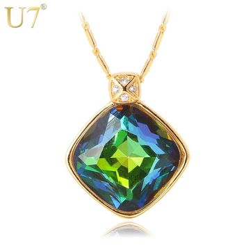 U7 Brand Green Crystal Charm Necklace & Pendant For Women Gift Yellow Gold Color Synthetic Emerald Fashion Jewelry P420