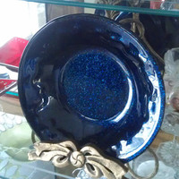 Midnight Blue High Relief Fused Glass Bowl - Handmade - Large