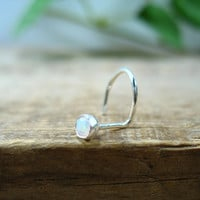 Nose Stud Screw Hook White Opal Sterling Silver