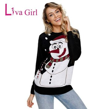 Liva Girl Christmas O-Neck  Autumn Winter Sweater Casual Warm Reindeer Snowman Sweaters Plus Size Full Sleeve Tops pullovers
