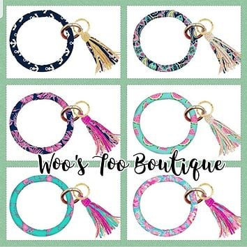 Designer 2 - Bangle Key Ring with Tassel - F19 - Simply Southern