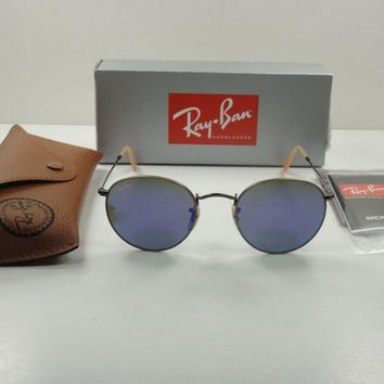 RAY-BAN ROUND METAL SUNGLASSES RB3447 167/1M BRONZE/VIOLET MIRROR LENS 50MM