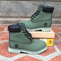 Timberland Rhubarb boots for men and women shoes waterproof Martin boots lovers Green